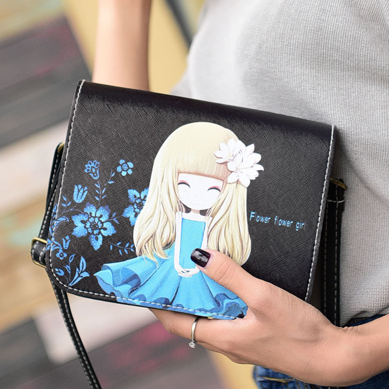 QZH Fashion 2017 Women Mini Party Handbag Purse Pouch PU Leather Ladies Printing Shoulder Bag Small Crossbody Messenger Bags fashion women mini handbag pu leather messenger crossbody shoulder bag wallet purse phone bags popular