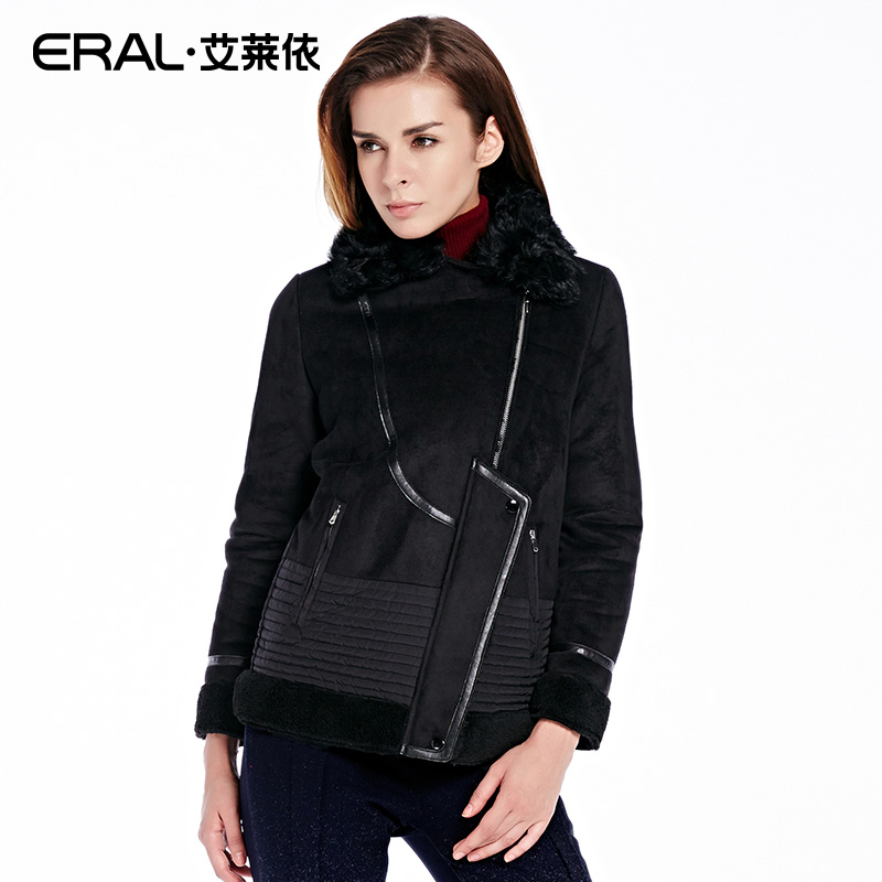 ERAL Womens Winter 2016 Slim Thickening Wool Collar Luxury Lambswool Patchwork Casual Down Jacket Outerwear ERAL12030-EDAB