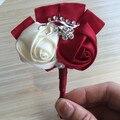 Ручной работы 1 Шт Партия Кристалл Свадебный Букет Декор Бутоньерка Искусственный Роуз Жених Корсаж Брошь Цветок Pin 30 Цвет Chooable