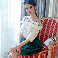 2017 Spring Summer Elegant Women Set Slash neck Flowers Embroidery Tops + Green Big Swing Short Skirt Fashion Suit