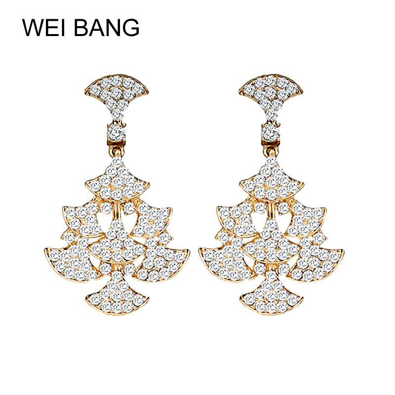 weibang Crystal Earrings Women's Jewelry Gold/Silver Color Cute Girl Clothing Dating Long Earrings Accessories