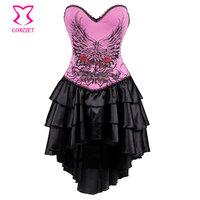 Lolita Pink Floral Pattern Cotton Burlesque Corsets And Bustiers Steampunk Clothing Gothic Corset Dress Korset For