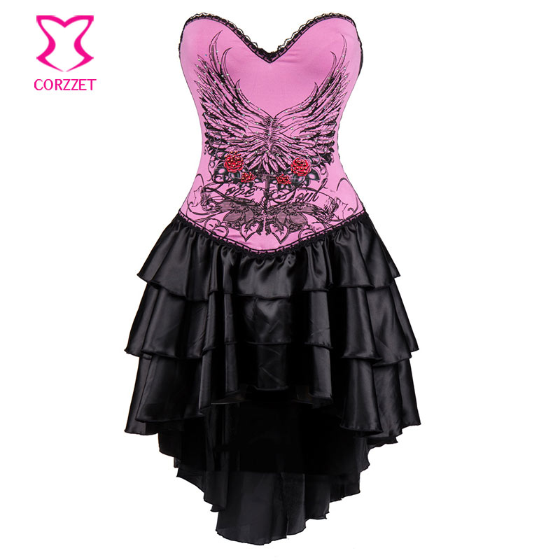 Lolita Pink Floral Pattern Cotton Burlesque Corsets And