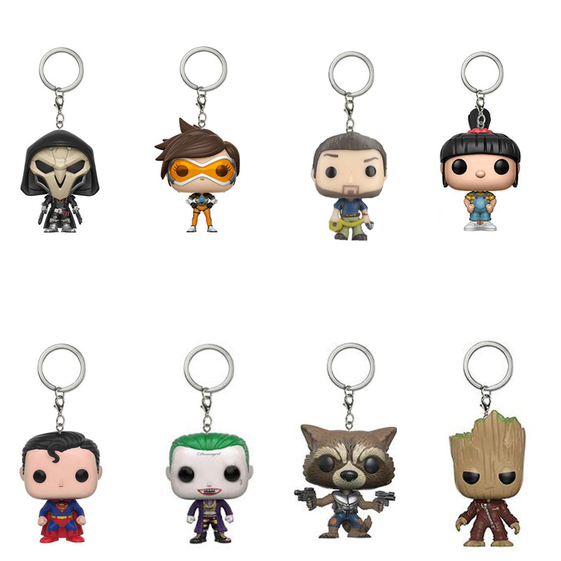 Keychain 28color Black Panther Game of Thrones Action Figure Toy Suicide Squad Harley Quinn Joker Series Guardians of the Galaxy