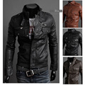2016 New Collar locomotive leather jacket Epaulet Pocket zipper men collar motorcycle leather  womens winter jackets and coats