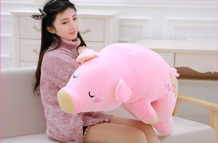 middle new plush pig toy soft pink pig pillow doll gift about 75cm lovely giant panda about 70cm plush toy t shirt dress panda doll soft throw pillow christmas birthday gift x023