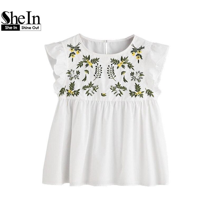 Shein вышивка блузка женщины повседневная блузки белый цветок вышитые рукавов застегнул замочную скважину рябить babydoll топ