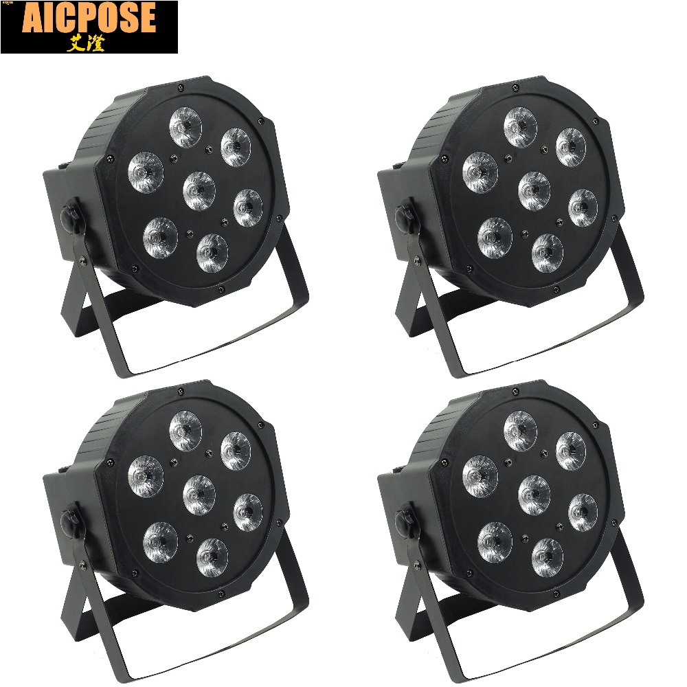 4pcs/lots 25 Angle Big Lens 7x18W Led Par Lights RGBWA UV 6in1 Flat Par Led Dmx512 Disco Lights Professional Stage Dj Equipment