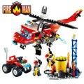 Gudi série blocos de construção caminhão de combate a incêndio compatível com legoe enlighten educação diy brinquedos presente para as crianças