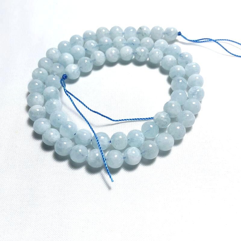 Natural stone AA grade aquamarine semi-finished round beads for DIY Necklace Bracelet Ring Earring There are 6mm models here
