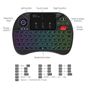 Image 2 - Mini keyboard Rii X8 2.4GHz Wireless Russian Keyboard with Touchpad ,changeable color LED Backlit for Mini PC/TV box
