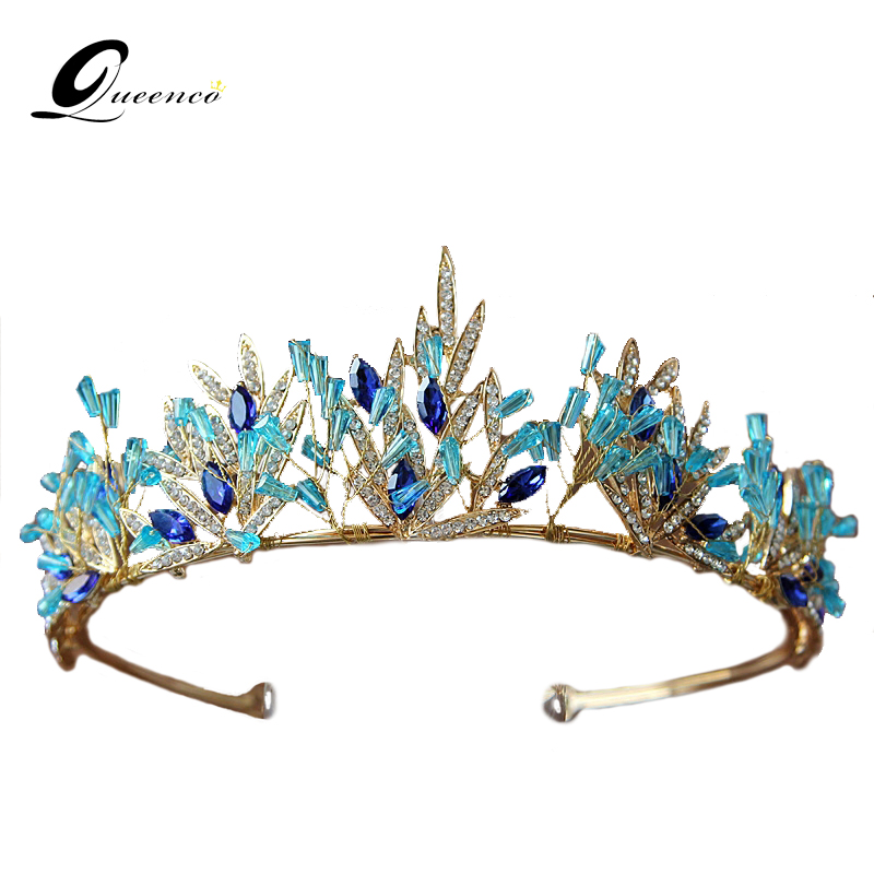 Queenco Bohemia Crown Blue Crystal Tiara Bridal Wedding Crown Gold Leaves Bridal Hair Accessories Ethnic Headband Gifts For Girl
