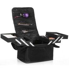Nowe na ramię podwójne otwarty wielowarstwowy profesjonalna walizka kosmetyczna do paznokci tatuaż makijaż narzędzia pakiet do przechowywania kosmetyczka