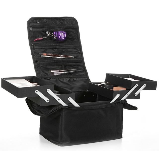 The New shoulder double open multi layer professional makeup case nail tattoo makeup tools storage package cosmetic bag