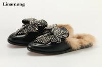 Hottest New Women Fashion Black Color Princetown Jeweled Leather Synthetic Fur Loafer Bow Tie Slides Sandals Big Size 42