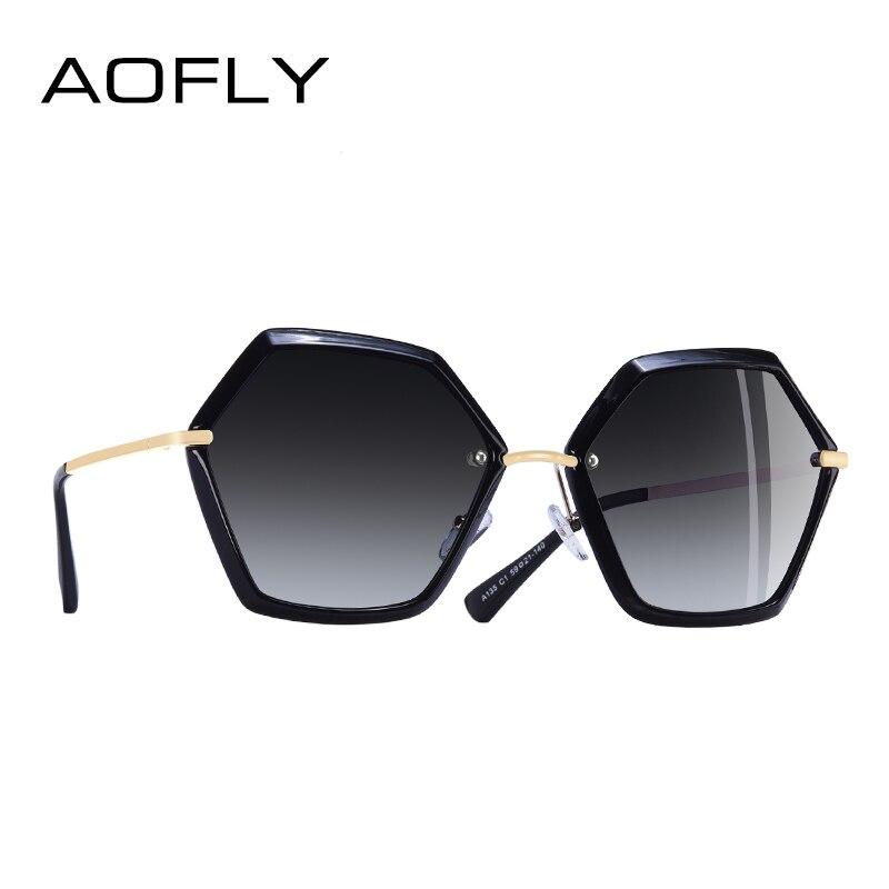 AOFLY BRAND DESIGN Unique Hexagon Frame Sunglasses Women Fashion Ladies Polarized Sunglasses Goggles UV400 A135
