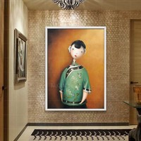 Cute Wearing Flowers Girl Handpainted Frameless Picture Painting Abstract Oil Painting On Canvas Home Decoration For