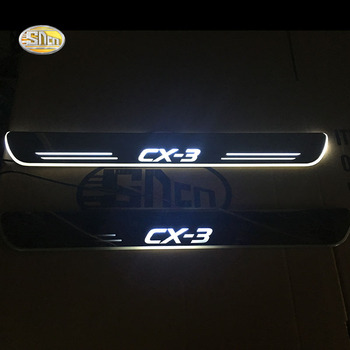 SNCN LED moving light scuff pedal for Mazda CX-3 CX3 car acrylic led door sill welcome pedal car styling led moving door scuff for land rover evoque 2013 15 door sill plate led welcome pedal led brand logo drl accessories