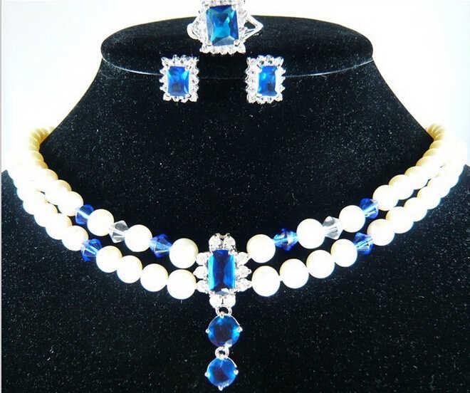 DYY 920 + + + hurtownia ładne projekt 2 wiersze shell naszyjnik z pereł + niebieski kryształowe kolczyki + pierścień (#7.8.9) zestaw biżuterii