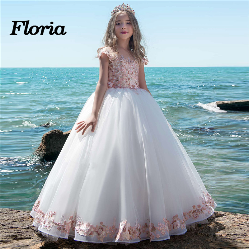 Fashionable Flower Girl Dresses 2018 Vestidos daminha Luxury Kids Evening Pageant Gowns Pink First Communion Dresses For Girls