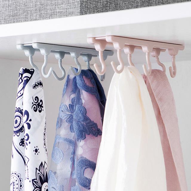 6 Hook Kitchen Organizer Towels Hanger and Wardrobe Clothes Storage Shelf