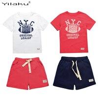 Kids Summer Clothes Boys Set 2016 Football Print Boy Sports Suit Number Letter T Shirt Drawstring