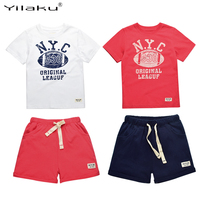 Kids Summer Clothes Boys Set 2016 Football Print Boy Sports Suit Number Letter T Shirt Drawstring
