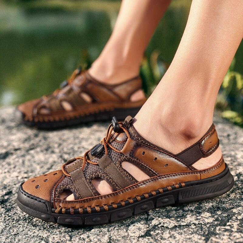 sandalias homem Leather Men Shoes