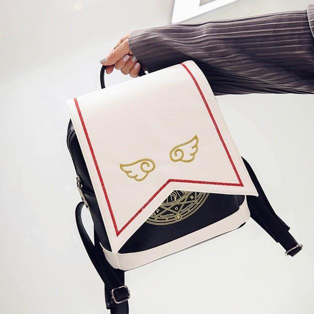 Japanese Comic Card Captor Sakura Wings Schoold Backpack Magical Card girl sakura Cosplay Backpack Sakura Wings bag