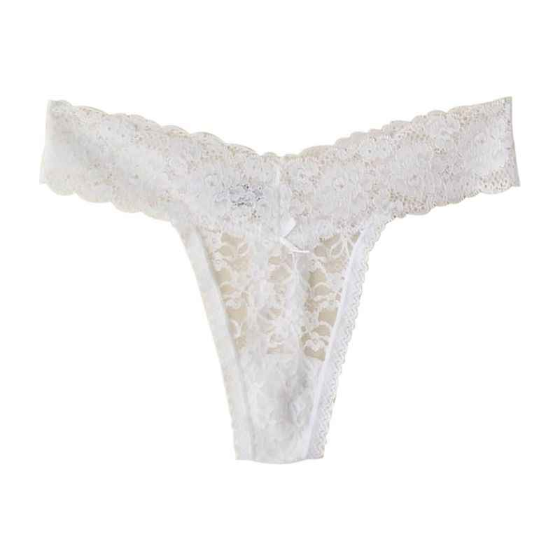 63c91a4fb898 ... Women Sexy Thin Lace Hollowed-Out T-Back Low Waist Ice Silk Cheeky  Thong ...