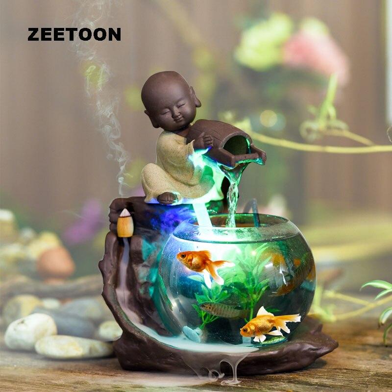 110-240 V Mini Fontaine D'eau Humidificateur Atomiseur Réservoir de Poissons De Bureau Feng Shui Ornements Chanceux Décoration Créative Encens brûleur