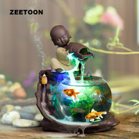 110 240V Mini Water Fountain Humidifier Atomizer Fish Tank Desktop Feng Shui Ornaments Lucky Home Decor Creative Incense Burner