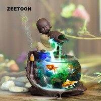 110 240V Mini Water Fountain Humidifier Atomizer Fish Tank Desktop Feng Shui Ornaments Lucky Home Decor Creative Incense Burner