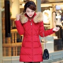 Nice New Fur Collar Hood Parka Long Winter Jacket Women Winter Wear Female Coat White Duck