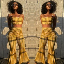 2019 Summer 2 Piece Sets Women Sexy Yellow Plaid Tracksuit England Style Crop Top And High Waist Flare Pants