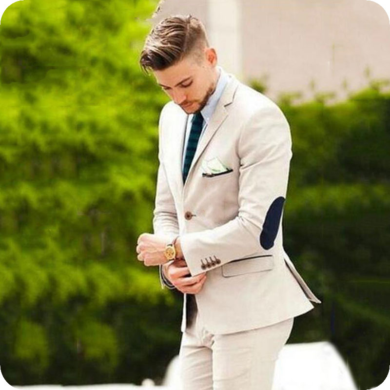 Beige Men Prom Suits Wedding Elbow Patches Groom Tuxedo Slim Fit Terno Masculino Male Blazers 2Pieces Jacket Pants Costume Homme