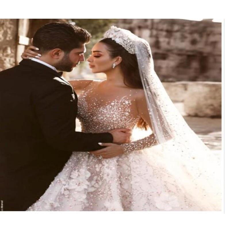 Dubai Luxury Crystal Wedding Dresses 2018 Shiny Beaded 3D Flower Wedding Gowns With Sheer Full Sleeves Pearls Vestido De Noiva-in Wedding Dresses from Weddings & Events