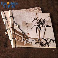 Bamboo Painting Wire Journal Book Memorandum Wired Notebpad Wholesale Arts Students Book Vintage Retro Notebook New Arrival N310