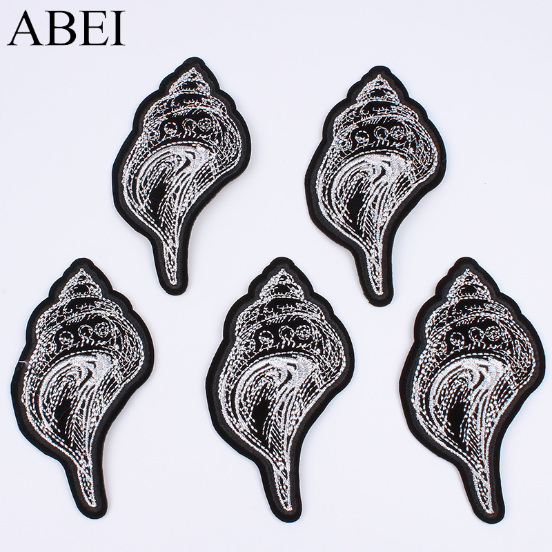 Intelligent 5pcs/lot Black Badge W Silver Embroidery Iron On Conch Patch For T Shirt Dress Pants Coats Sewing Stickers Diy Jeans Patches Elegant In Style Arts,crafts & Sewing