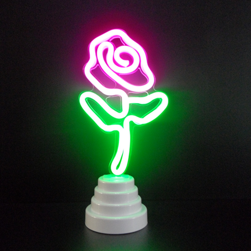 LED Neon Night Light Creative DIY Rose Flower Lips Marquee Sign Lamp For Room Baby Children Decor Gifts Table Lamps wild at heart neon sign advertise custom logo neon bulb beer glass tube handcrafted neon glass tubes recreation room lamps 17x14