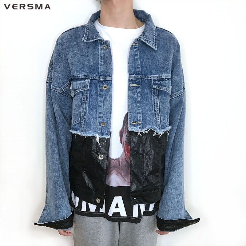 VERSMA Harajuku Hip Hop Punk Vintage Men Denim Jacket Coat Cowboy PU Leather Patch Oversize Loose Jean Biker Jacket Men Clothes