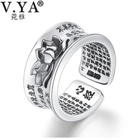 V YA Pure 925 Sterling Silver Retro Open Rings With Buddhism Heart Sutra Lotus Floral Finger