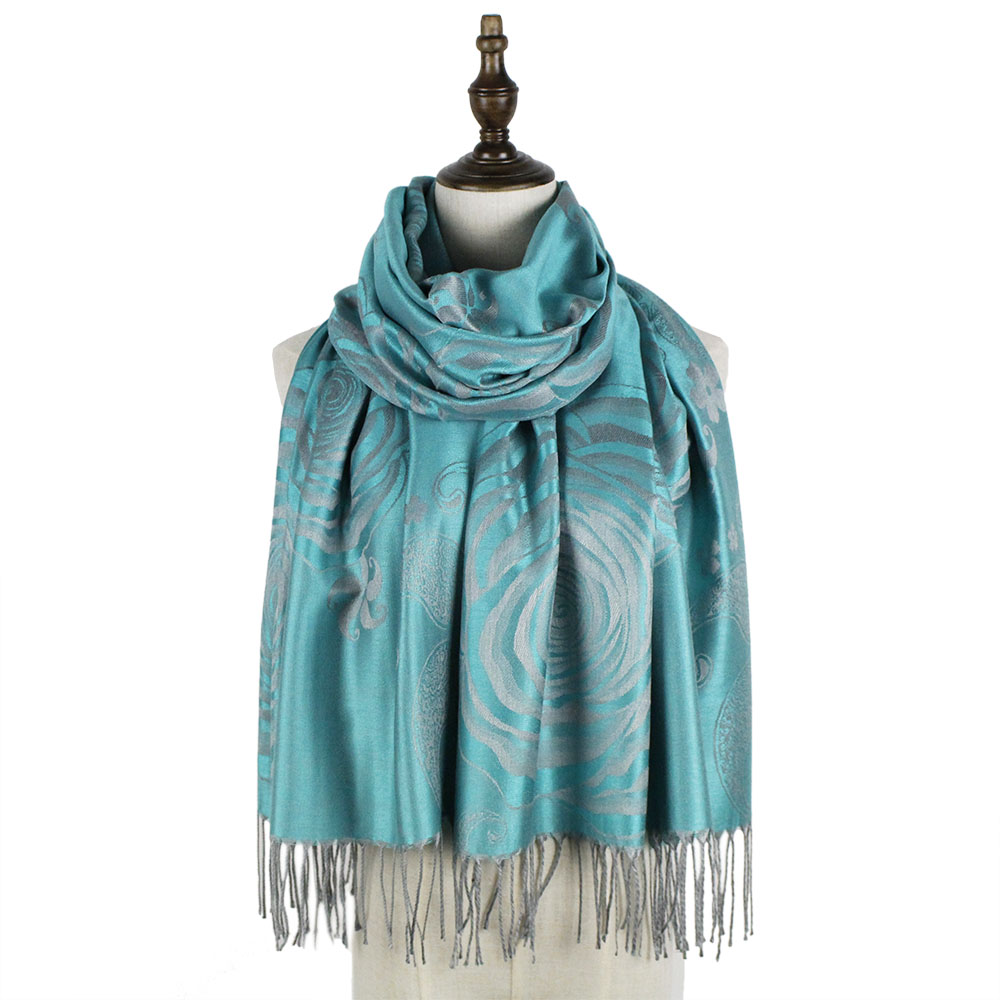 Jzhifiyer pashmina jacquard scarf rayon long fashion fringe floral ladies wraps shawls scarves women cape shawl