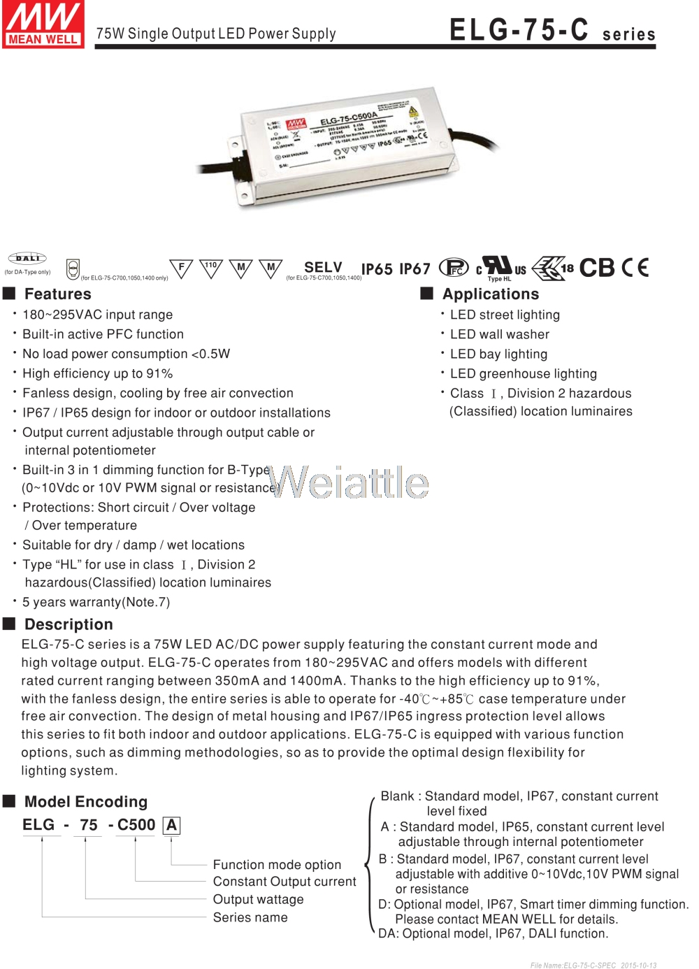цена на [Cheneng]MEAN WELL original ELG-75-C350D 224V 350mA meanwell ELG-75 224V 74.9W Single Output LED Driver Power Supply D type
