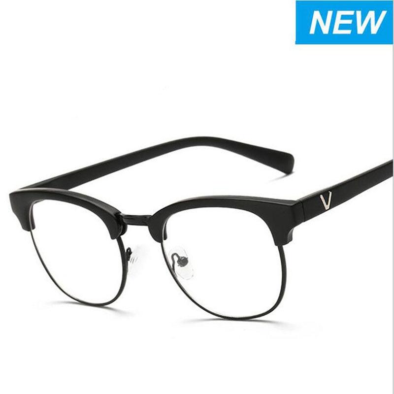 Eyeglasses Men Women Brand Office Women Half Rim Clear Lens Eye Glasses Frames For Women Female Spectacle Frame No Degree