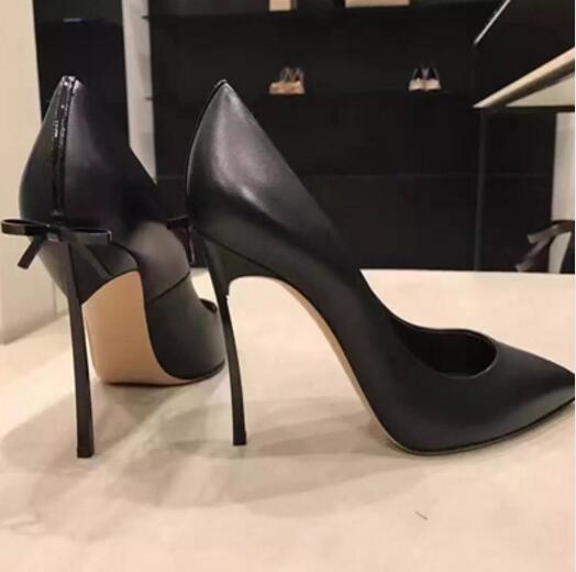2018 Fashion Black Leather Pointed Toe Women Pumps Slip On Back Embellishe Butterfly Knot Blade Heel Thin High Heels Party Shoes women genuine leather slip on pointed toe lazy shoes sweet bow knot shallow party spring autumn women pumps black pink