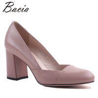 Bacia Full Grain Leather Sheepskin Thick Heels Genuine Leather Round Toe Pumps High Heel Quality Shoes
