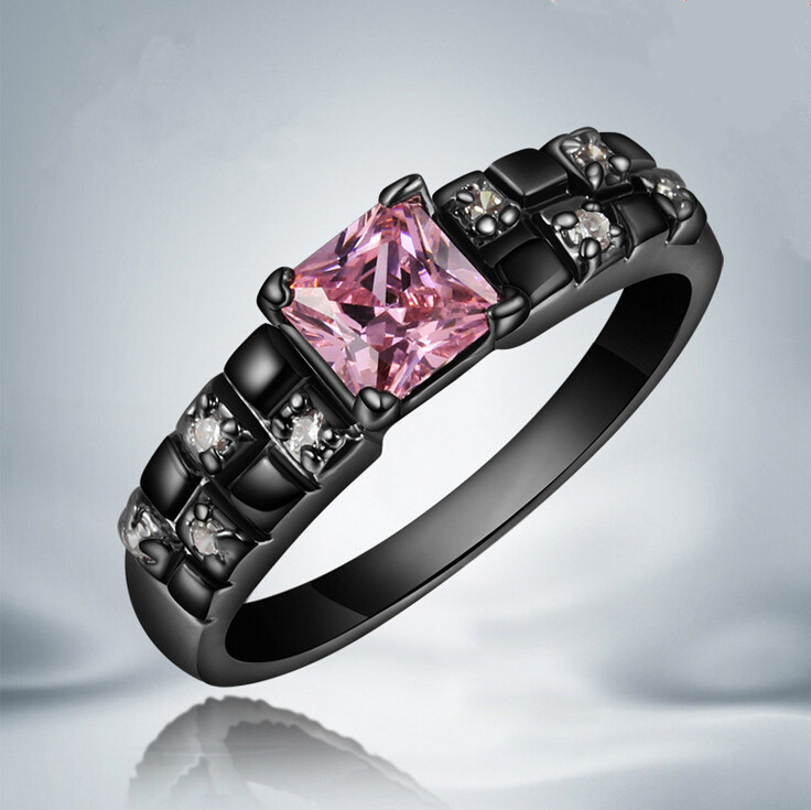 new hot top quality black wedding ring pink sapphire14kt - All Black Wedding Rings