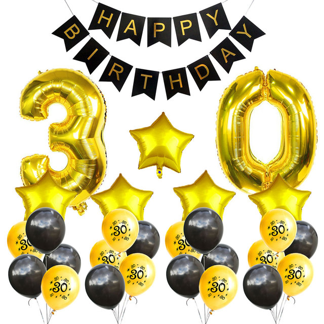 Amawill 30th Birthday Party Decoration Sets Happy Banner Gold Number Balloons 30 Years Old