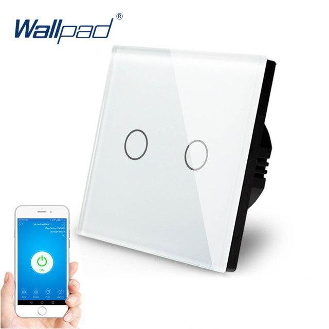 2 Gang Dellinterruttore di Tocco di Controllo WIFI Wallpad EU UK 2 Gang 1 Way Cornice di Vetro Smart Home, Casa Intelligente Alexa Google casa IOS android Interruttore Della Parete